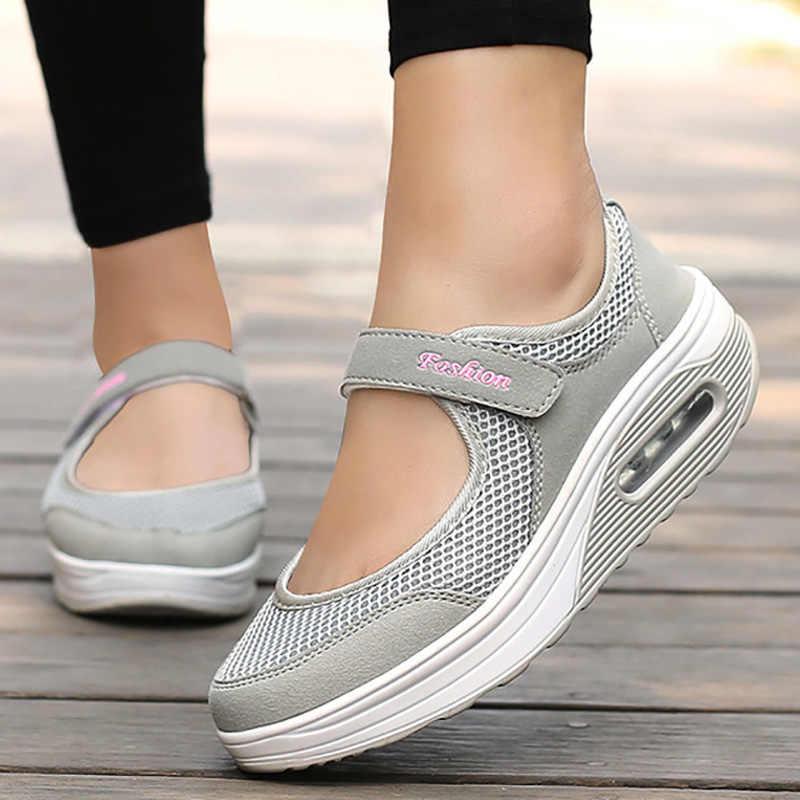 รองเท้าผู้หญิง Breathable ตาข่าย Vulcanized รองเท้าผู้หญิงฤดูร้อนรองเท้าสบายๆ SUPER LIGHT รองเท้าผ้าใบสตรี 2019 Flats Tenis Feminino