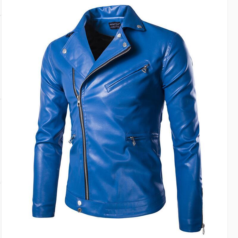 High Quality Men Slim Blue Motorcycle Leather Jackets Punk style Autumn New Male Oblique zipper Leather & Suede Coats Size 5XL мужские кожанные куртки с косой молнией