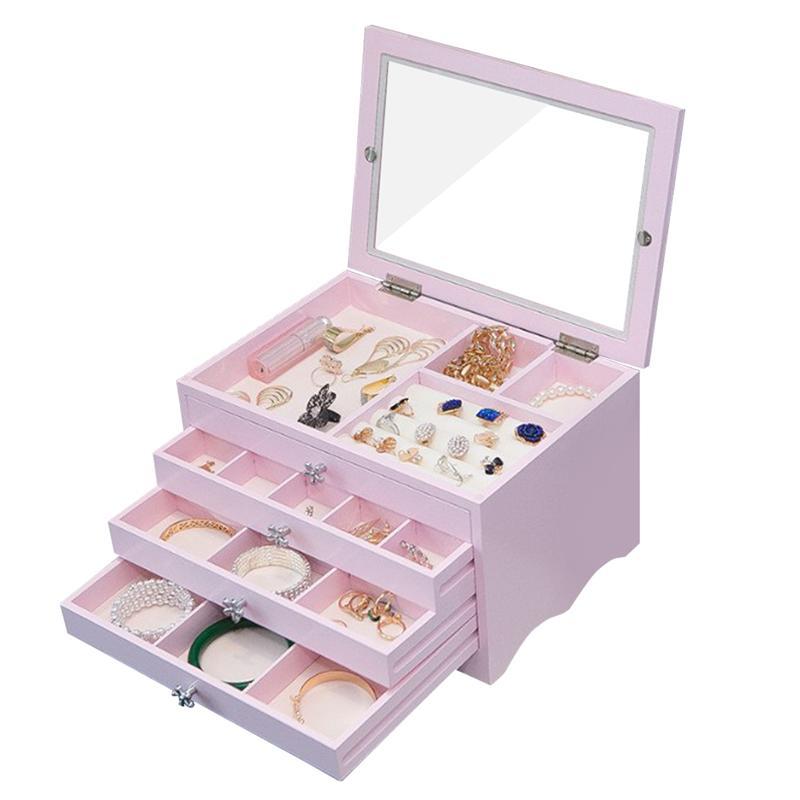 OUNONA boîte à bijoux en bois organisateur avec couvercle plusieurs tiroirs mallette de rangement pour colliers Bracelets boucles d'oreilles anneaux (bleu)