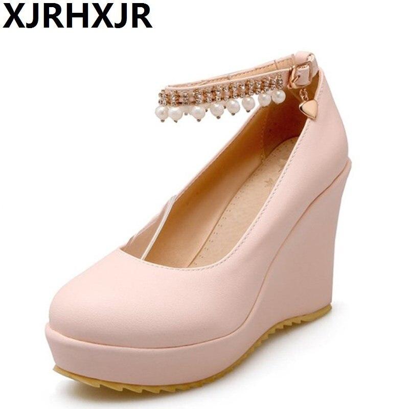 XJRHXJR 4 Colors Women Pumps String Bead Platform Wedges Round Toe Shoes Elegant Sweety Office Ladies Footwear size 34-39