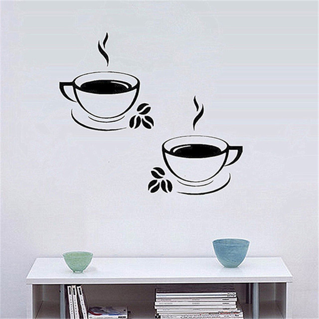 Coffee Cups Beads Pattern Pub Cafe Kitchen Home Decor Art Decal Wall Sticker Europe Style Wall Sticker