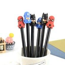 100 sztuk Cute Cartoon kapitan modelowanie neutralny długopis uczeń dostarcza Superhero neutralny podpis długopis Kawaii szkolne