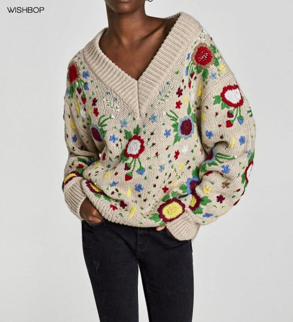 WISHBOP NEW 2017 Fashion Multicoloured FLORAL EMBROIDERED SWEATER V-neck  sweater long sleeves Drop Shoulder 800bae5c0e11