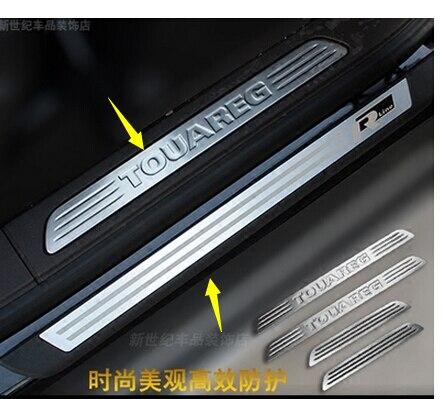 8 pcs capas de aço inoxidável do peitoril da porta da placa do scuff para Volkswagen Touareg 2011--2017 car styling acessórios auto