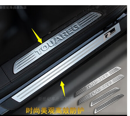 8 pcs stainless steel scuff plate door sill covers for Volkswagen Touareg 2011--20017 car styling auto accessories car covers stainless steel rear bumper protector sill scuff plate door sill fit for 2012 2017 volkswagen sharan car styling