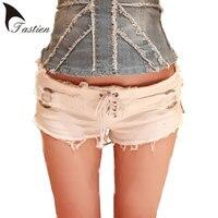 2016 New Arrival Summer Denim Jeans Shorts Women Sexy Club Bandage Zipper Super Short Feminino Knickers