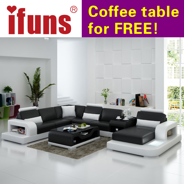 Ifuns Modern Design U Shaped Quality White Leather Sectional Sofa Set Living Room Furniture Led Light
