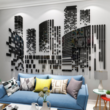 Living room Background wall 3D creative stickers Acrylic mirror wall sticker Mosaic combination building self-adhesive sticker 100pcs small cubes mosaic squares mirror wall sticker
