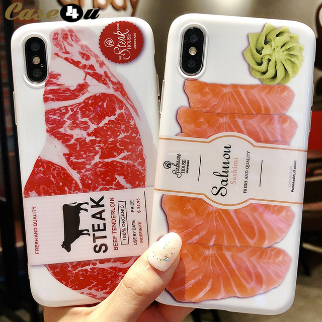 premium selection 901af 934d4 US $2.87 |Funny Japanese Salmon Beef Soft Silicone Case For iPhone 8 7 6 6s  Plus X 10 Phone Cases Ultra Slim Meat Fish 3D Food Cover coque-in Fitted ...