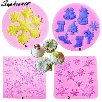 10PCS/SET C009 4Pcs 3D Christmas Cake Border Silicone Mold Snowflake Cupcake Decorating Fondant Chocolate Candy Gumpaste Mould