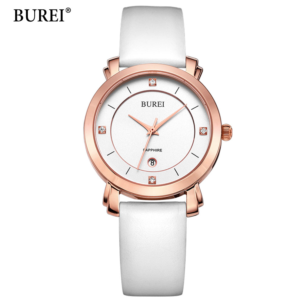 цена BUREI Ladies Watches Rose Gold Watch Women Dress Top Brand Women's Fashion Genuine Leather Straps Quartz Watch Relogio Feminino