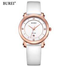 BUREI Ladies Watches Rose Gold Watch Women Dress Top Brand Women's Fashion Genuine Leather Straps Quartz Watch Relogio Feminino