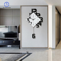 Swing Wall Clock Modern Design Nordic Style Living Room Wall Clocks Fashion Creative Bedroom Silent Quartz Watches