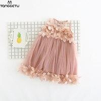 2018 New Tanggetu Summer Costume Little Girls Princess Dress Sleeveless Petal Dress Printed Kids Princess Party Dance Ball Gown