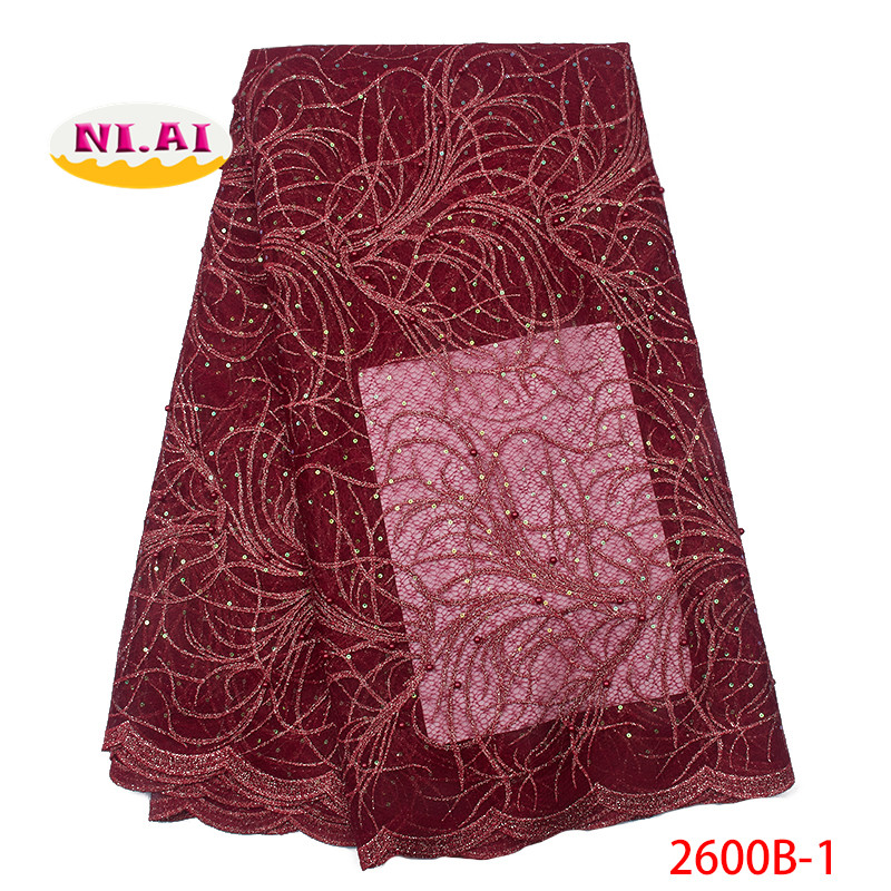 Wine African Lace Fabric 2019 Nigerian Sequins Lace Fabric Fshion Lace Fabric For Dresses MR2600B