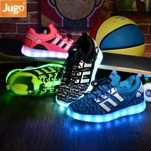 Fashion Kids Sneakers Children's USB Charging Luminous Lighted Sneakers Boy/Girls Colorful LED lights Children Shoes size 26-37