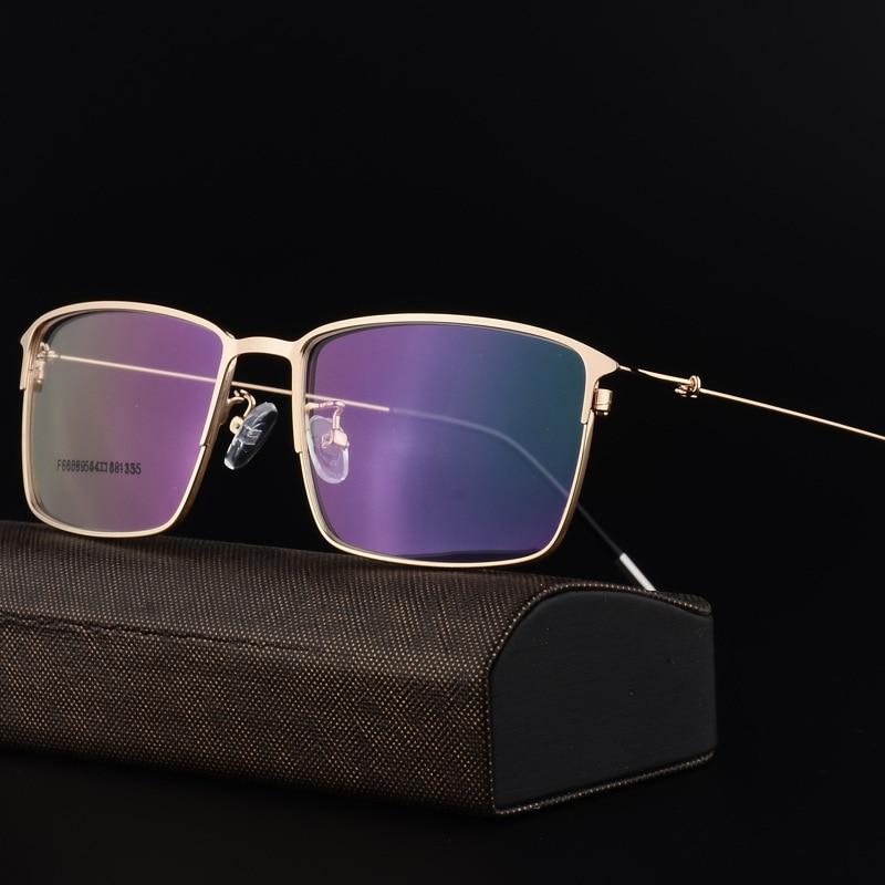 Alloy Glasses Frame Men Ultralight Square Myopia Prescription Eyeglasses Male Metal Full Optical Frame Screwless Eyewear F6059 in Men 39 s Eyewear Frames from Apparel Accessories