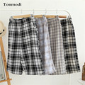 Sleep Bottoms Men Summer Plaid Cotton Shorts Double Gauze Loose Beach Pants Mens Lounge Sleep Shorts