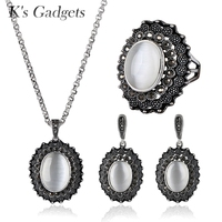 KCALOE Oval Natural Opal Stone Jewellery Sets Antique Silver Plated Black Cubic Zirconia Pendant Earrings Ring