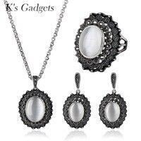 K's Aparelhos Oval Opala Natural Pedra Conjuntos de Jóias de Prata Antigo Cor Preto Cubic Zirconia Pingente/Brincos/Anel Conjunto de casamento