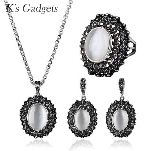 K S Gadgets Oval Natural Opal Stone Jewellery Sets Antique Silver Color Black Cubic Zirconia Pendant