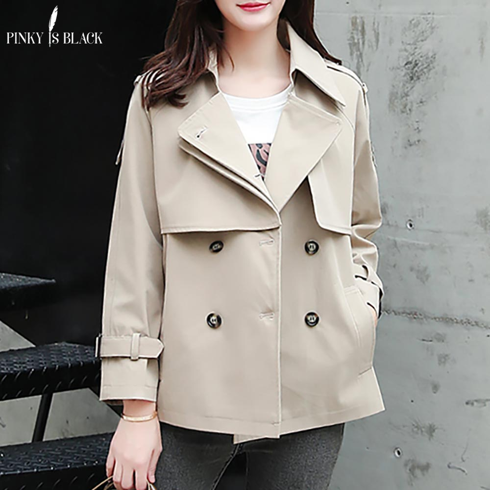 PinkyIsBlack Tops Women Casual Solid Color Double Breasted Outwear Turn Down Collar Female Coat Chic Short   Trench   Coat For Women