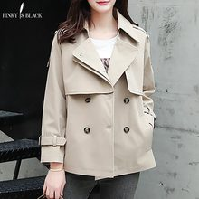 PinkyIsBlack Tops Women Casual Solid Color Double Breasted Outwear Turn Down Collar Female Coat Chic Short Trench For
