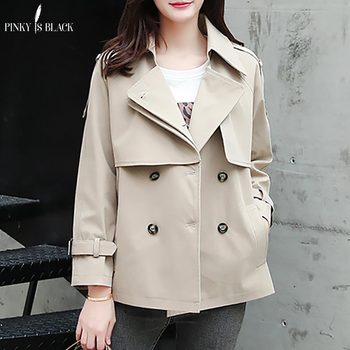 PinkyIsBlack Tops Women Casual Solid Color Double Breasted Outwear Turn Down Collar Female Coat Chic Short Trench Coat For Women amii casual women woolen coat 2018 winter turn down collar solid double breasted female wool blends