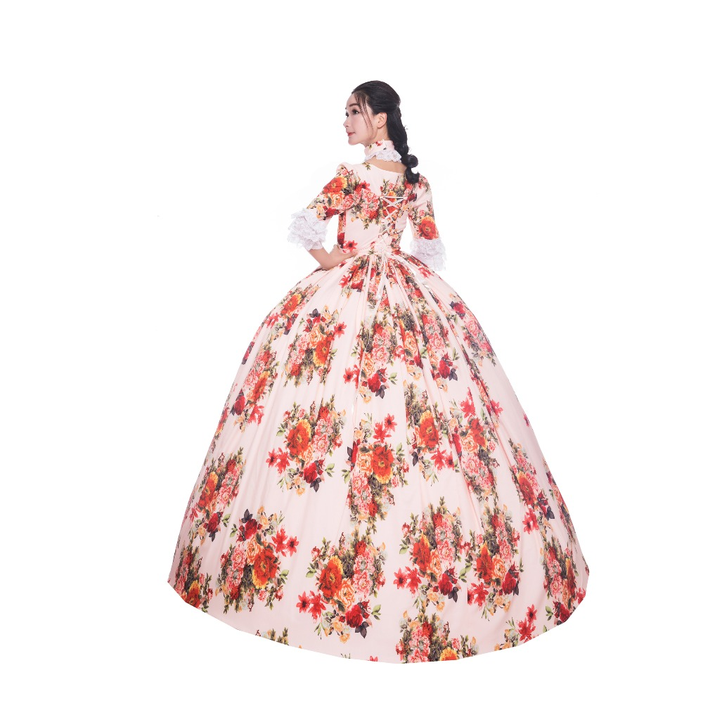 18th Print Princes Elegant Dress Embroidery Dress 1/2 Full Sleeve Theater Dress Flower Ball Gown Victorian Dress - 6