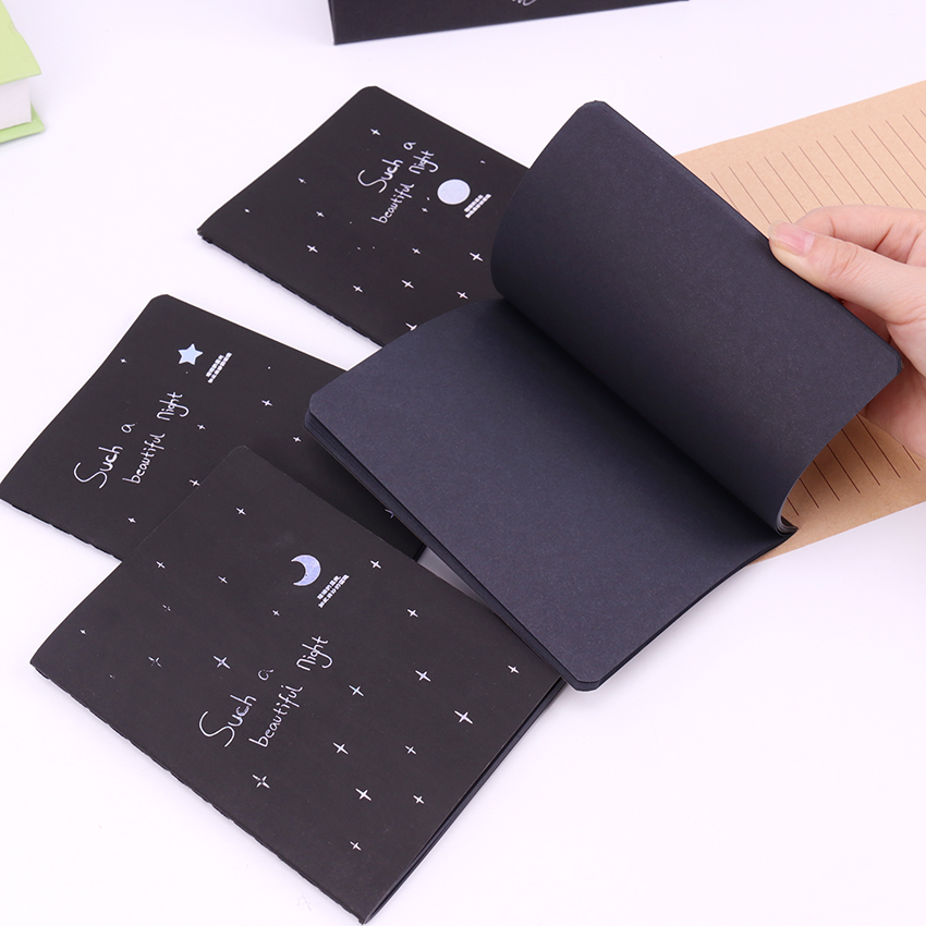 1PC 56K Sketchbook Diary For Drawing Painting Graffiti Softcover Black Paper Sketch Book Notebook Office School Supplies Gift