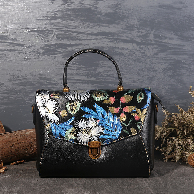 Genuine Leather Women Handbags Tote Bolsa Feminina Fashion Designer Flowers Shoulder Crossbody Bags Messenger Bag Sac a main women floral leather shoulder bag new 2017 girls clutch shoulder bags women satchel handbag women bolsa messenger bag