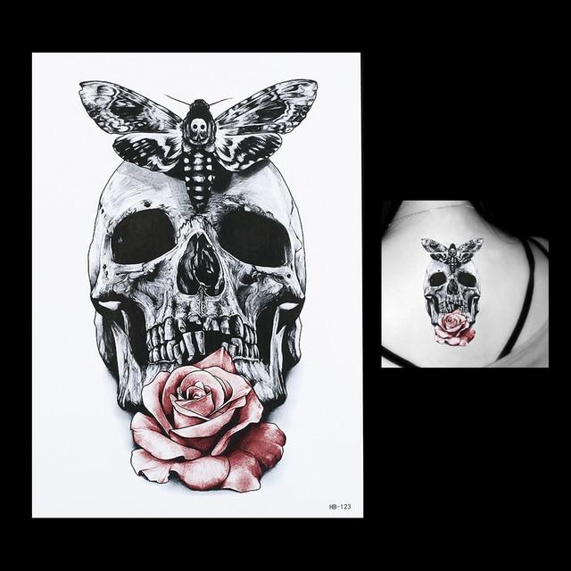1 Sheet Gray Butterfly Skull Rose Flower Arm Body Art Tatoo Sticker HB123 Waterproof Temporary Body Art Tattoo Paint Sticker