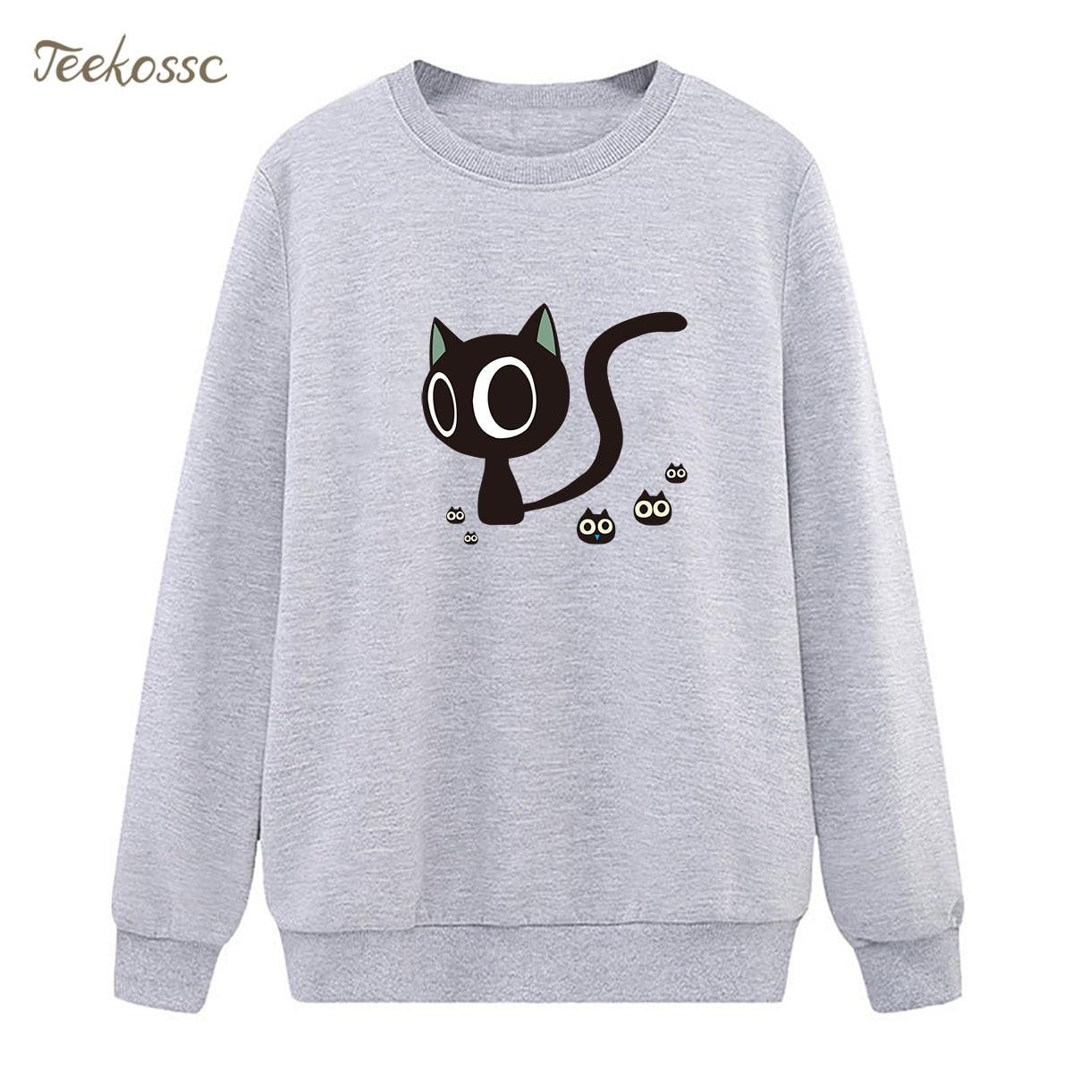 Kawaii Cat Sweatshirts Women Cute Hoodie 2018 Winter Autumn Lady Pullover Fleece Warm Hipster Sportswear Harajuku Brand Clothing