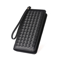 Korean Style Fashion Manual Knitting Purse Solid Color Designer Luxury Women Long Wallet Simple Zipper Closure