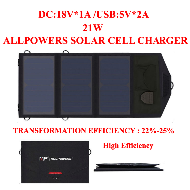 ФОТО ALLPOWERS 18V21W Solar Cell Charger solar battery panel powerbank for cellphone iPhone/iPad laptops outdoor sport Freeshipping