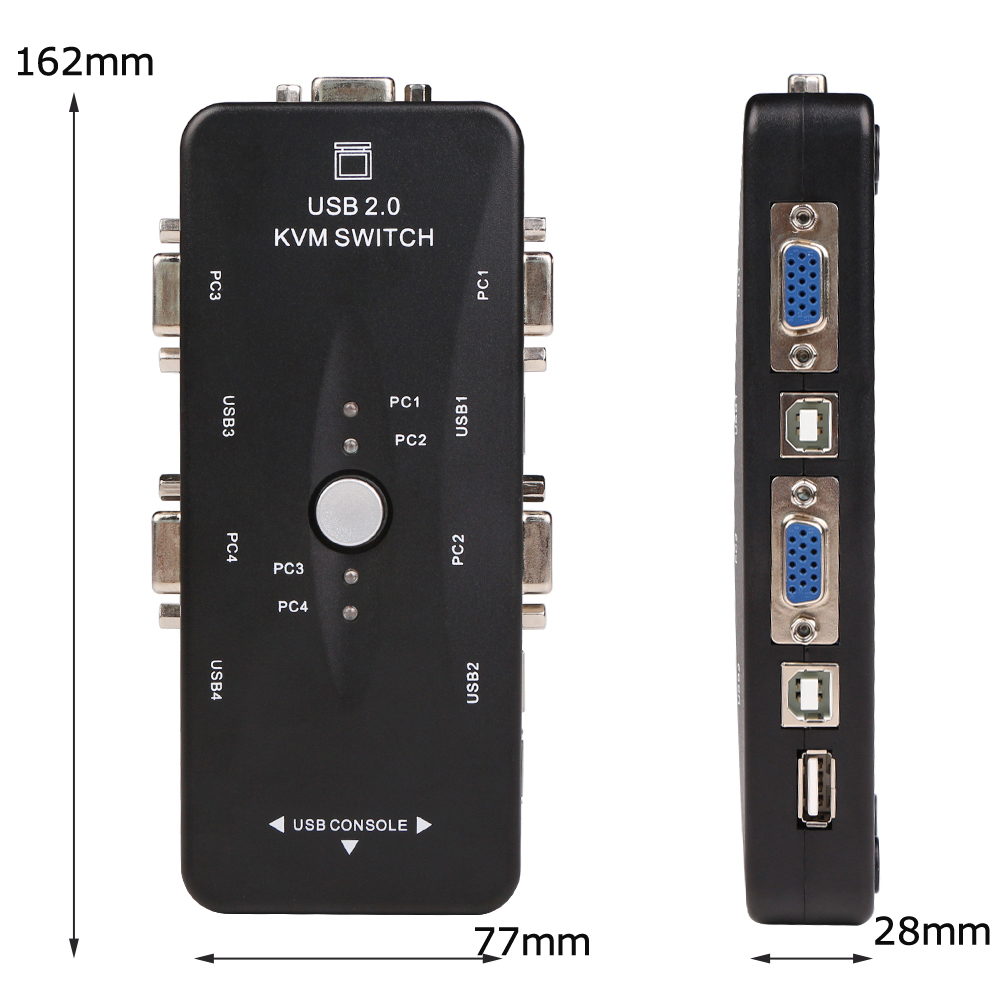 Ingelon 4 port kvm switch USB 2.0 VGA Splitter Printer Mouse Keyboard Pendrive Share Switcher 19201440 VGA Switch Box Adapter (6)