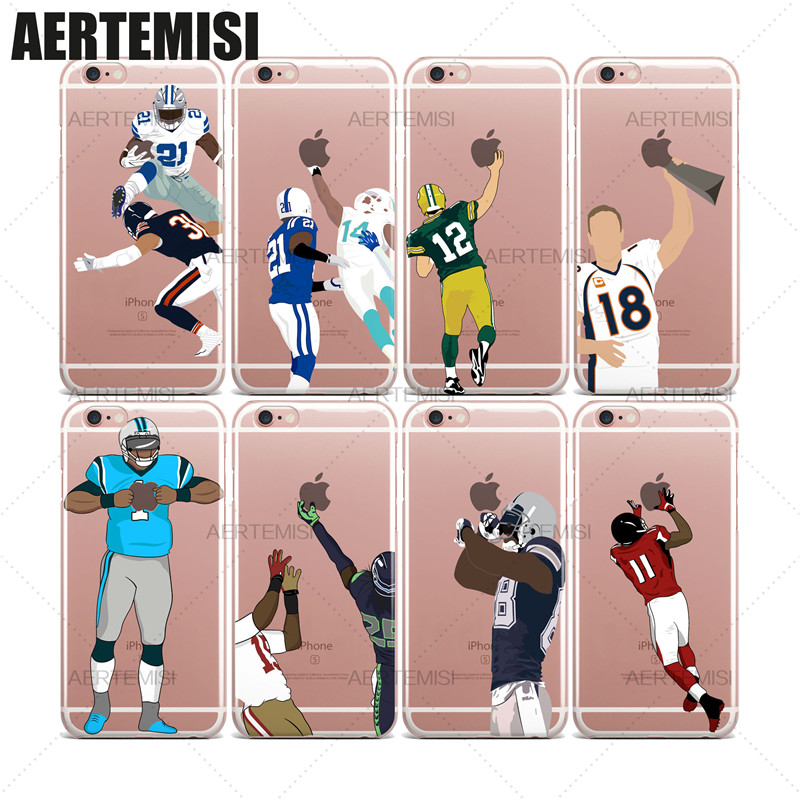 Aertemisi Phone Cases Super Bowl American Football Players Cam Newton Clear TPU Case Cover for iPhone 5 5s SE 6 6s 7 Plus