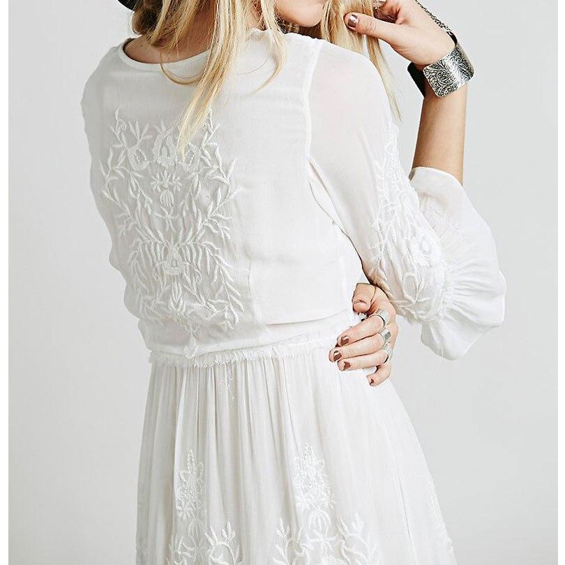 Luckeytimes Bohemia Vezenje Bijela haljina Žene Crne ogrlice - Ženska odjeća - Foto 6