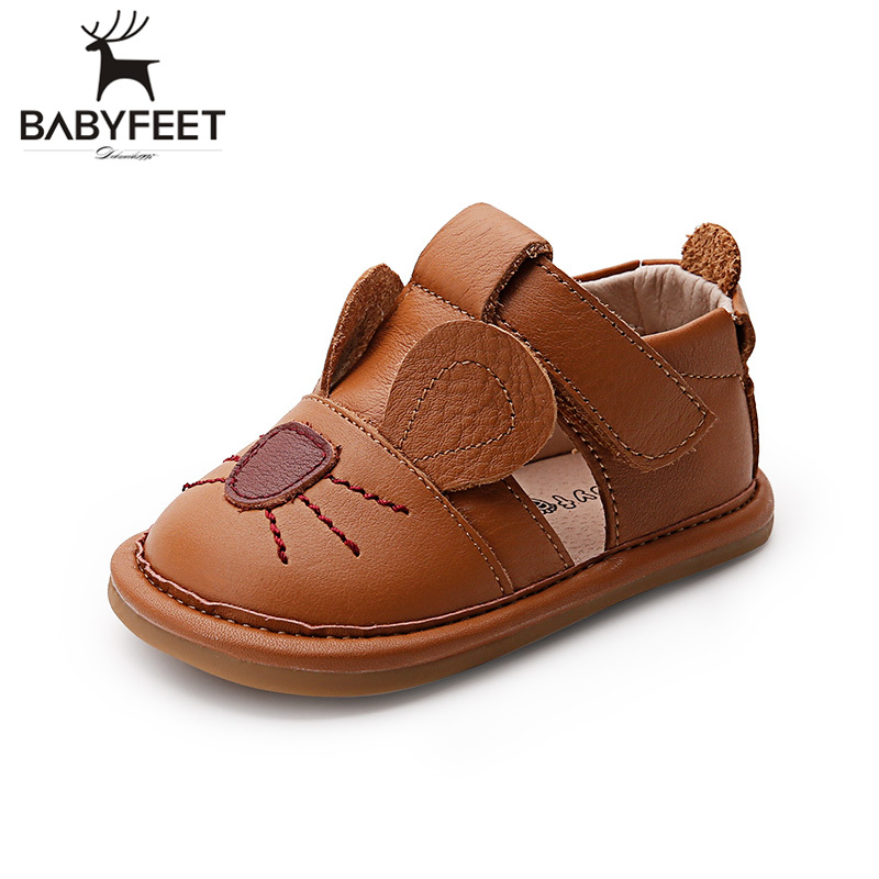 Babyfeet Solid Light Cow Leather girl sandals Cartoon mouse sandals 0-3 Kids children shoes infantil New Baby Toddler boy shoes kelme 2016 new children sport running shoes football boots synthetic leather broken nail kids skid wearable shoes breathable 49