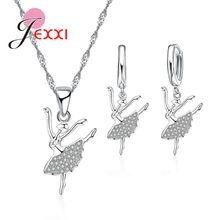 Женский комплект украшений серьги и ожерелье из стерлингового