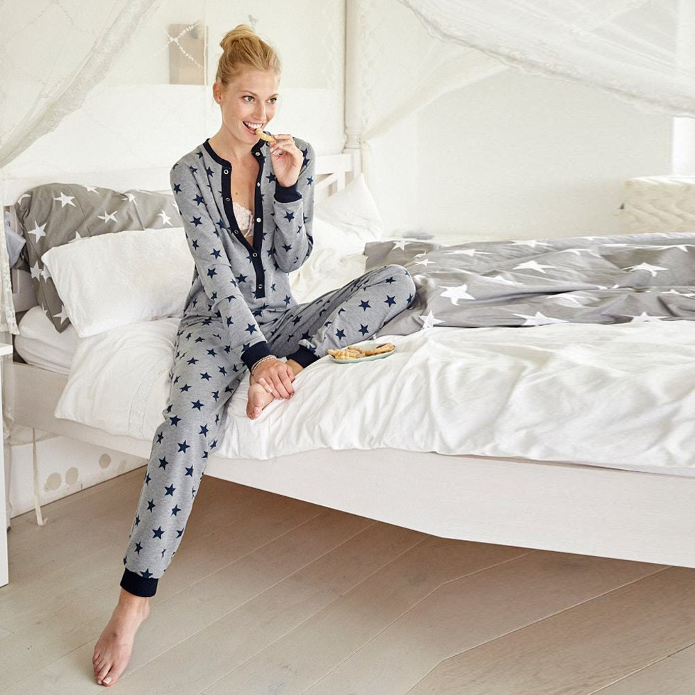 Women Long Sleeve Star Printed Pajama Set Buttons O Neck Sleepwear Home Clothes For Women Gray Family Nightwear