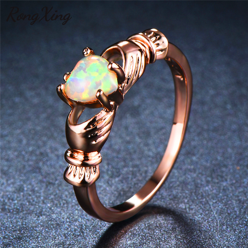 RongXing Charming White Fire Opal Heart Claddagh Rings for Women Vintage Rose Gold Filled Rainbow Birthstone Ring Fashion Bijoux