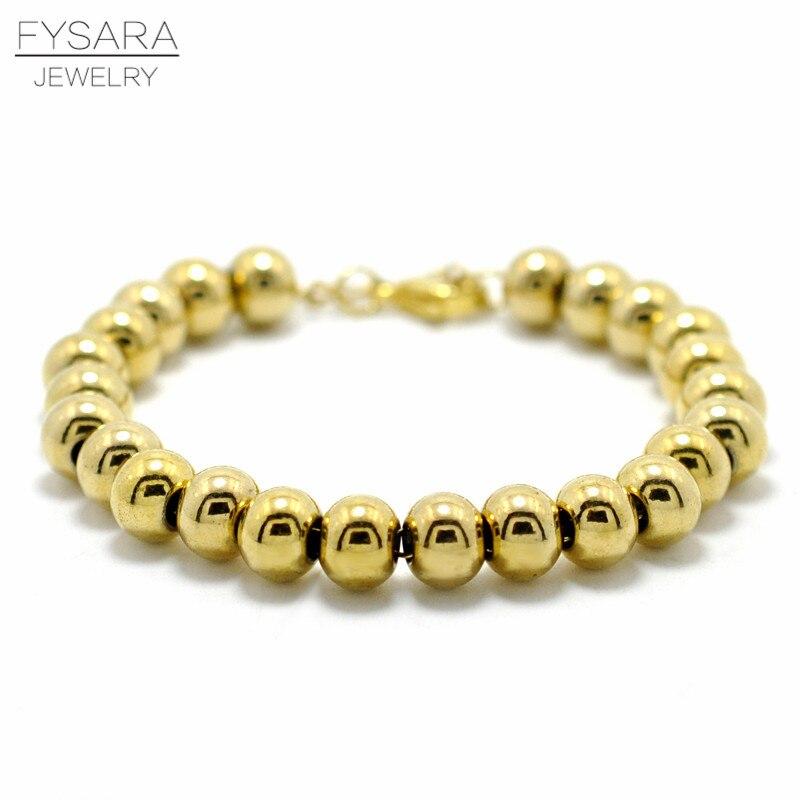 FYSARA Gold Color Filled Stainless Steel Ball Beads Bracelets Women Men Jewelry 4/6/8mm Beaded Strand Bracelets Custom Wholesale все цены