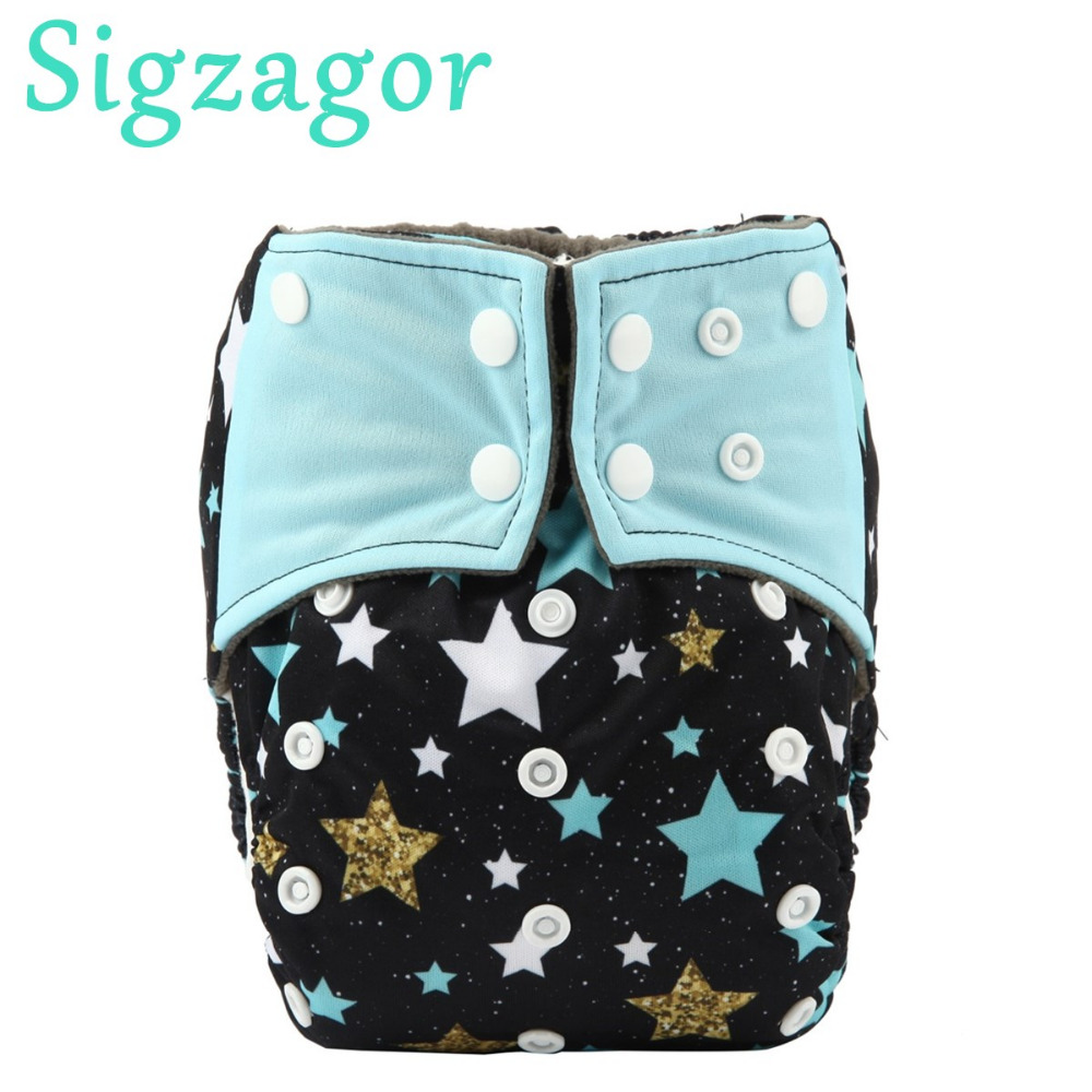 Sigzagor 5 ALL IN ONE Charcoal Bamboo Baby Cloth Diapers Nappy Washable Sewn In Charcoal