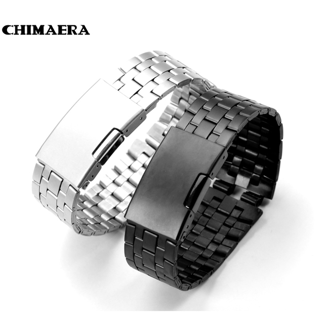 CHIMAERA Silver Black Stainless Steel watchband watch band  watch strap with deployment buckle for pebble steel