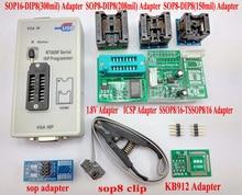 D'origine RT809F programmeur + 8 Adaptateurs + IC clip pince + 1.8 V adaptateur VGA LCD programmeur ICSP conseil 24 25 93 serise IC