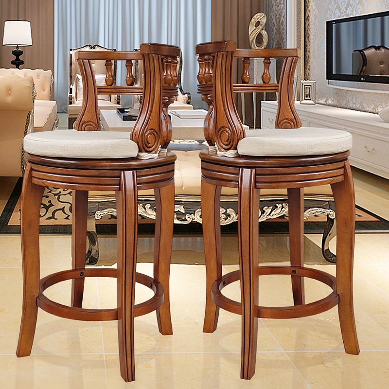 Supply New Custom Bar Stool Bar Stool High Stool Home Solid Wood Bar Stool Creative Nordic Front Desk Modern Minimalist Rotating Chair Complete In Specifications Bar Furniture