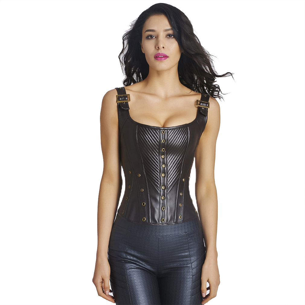 Women's Steampunk Corset Sexy Bustier Leather Corset Waist Trainer Corsets and Bustiers Gothic Clothing Corselet Espartilhos