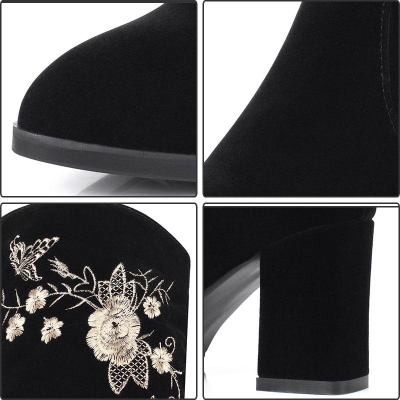 Fleur Suede Zip Fanyuan Sexy Black Automne Cuissardes Genou Haute Rétro Faux Bottes Femmes Talons Chaussures vmw8nOy0PN