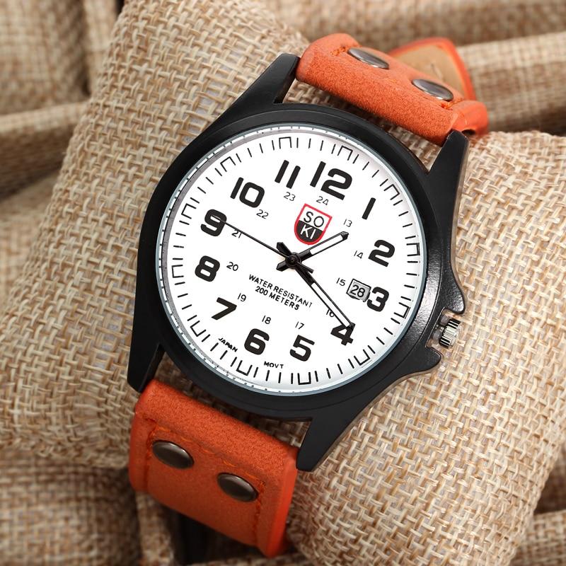 2016 Top Brand Quartz Wristwatch Men Orange Leather Round Fashion Causal Men Chronograph Quartz Watch relogio